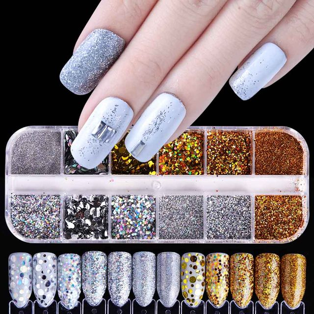 538 1 Set Shiny Laser Glitter Nail Powder Chrome Pigment Dust Mix
