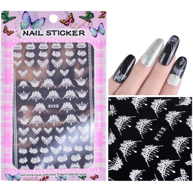 457 1 Sheet Embossed 3d Nail Stickers Blooming Flower 3d Nail Art