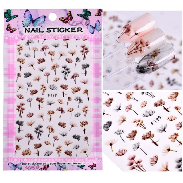$4.57 1 Sheet Embossed 3D Nail Stickers Blooming Flower 3D Nail Art ...