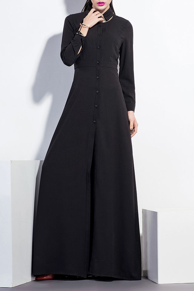 8399 Black Contrast Collar Long Sleeves Maxi Dress