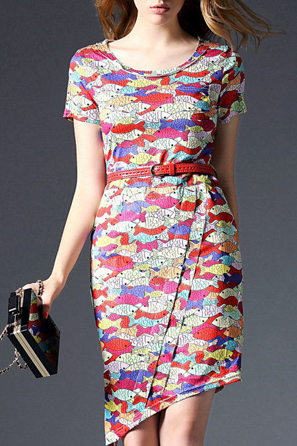 Multicolor round neck asymmetrical fish print dress for Fish print dress