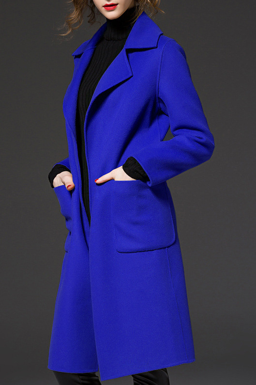 115 99 Royal Blue Belted Wool Coat