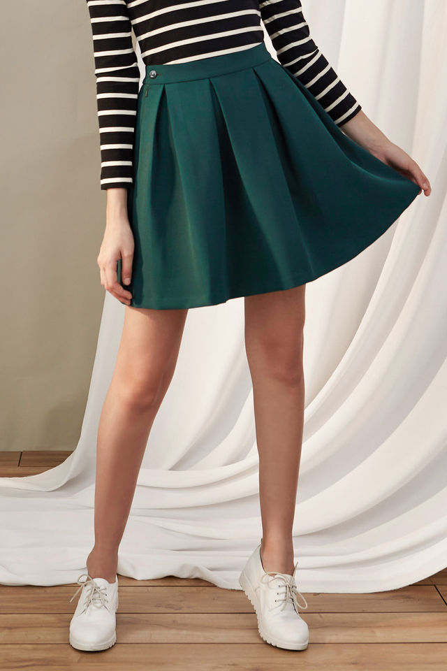 69 99 Dark Green Pleated Plain Skirt