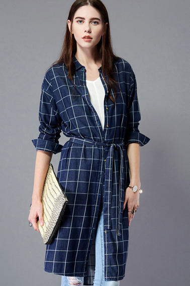 bb74d709200 Plaid shirt featuring button placket and flap pockets at chest. Benibos  Women s Check Flannel Plaid