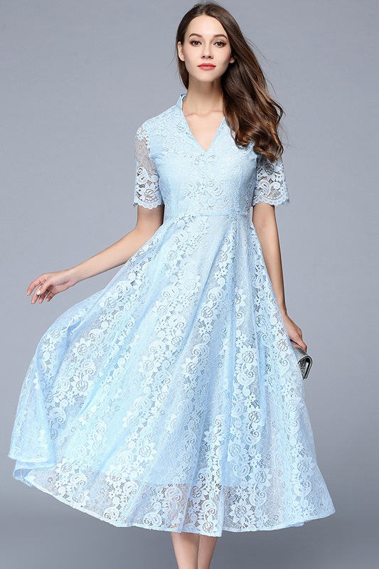 Light blue lace midi dress with sleeves