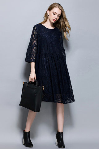 $41.99 Black Plus Size Lace Knee Length Dress