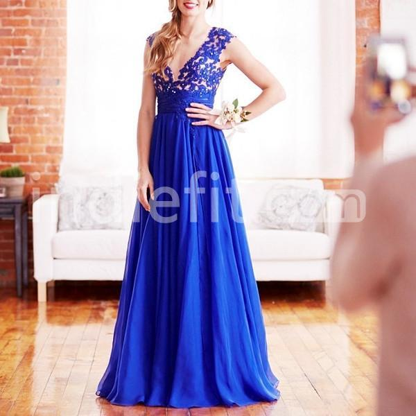 Long junior blue a line straps sleeveless zipper for Tj maxx wedding guest dresses