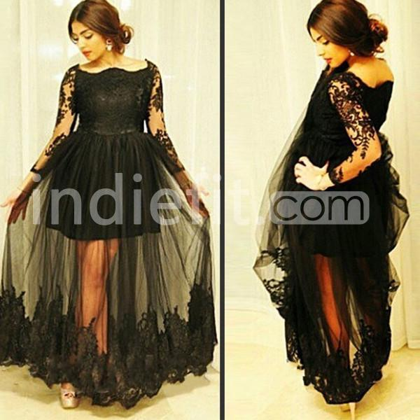 12799 Junior Black A Line Long Sleeves Prom Dresses 2018 Lace