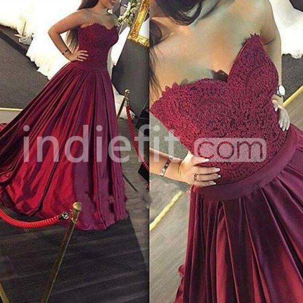 $137.89 Long Burgundy Ball Gown Sweetheart Sleeveless Prom Dresses ...