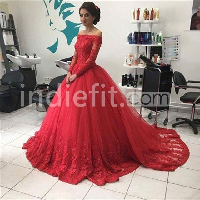 $169.99 Red Ball Gown Off-the-Shoulder Long Sleeves Lace Prom ...