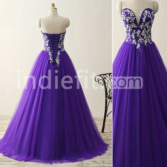 $159.99 Long Purple Ball Gown Sweetheart Sleeveless Corset Appliques ...