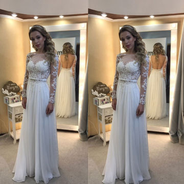 870f6806066 $134.99 Floral White A-line Long Sleeves Backless Prom Dresses 2019 ...
