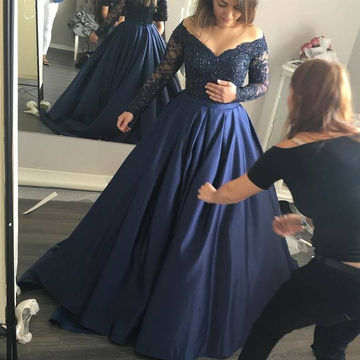$146.90 Plus Size Blue Ball Gown Long Sleeves Beading Prom Dresses 2019