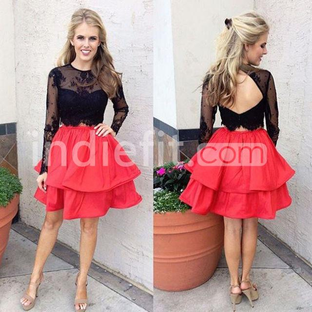 49f1a332687  129.99 Cute A-line Long Sleeves Zipper Appliques Homecoming Dresses 2018  Two Piece