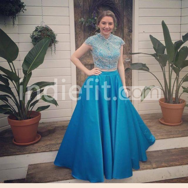 Natural Simple Elegant 2018 Blue Bridesmaid Dresses With: $179.99 Long Elegant Blue A-line Capped Sleeves Zipper