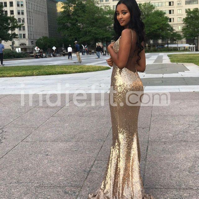 $149.99 Gold Sequin Long Prom Dresses 2018 Mermaid V-Neck Open Back ...