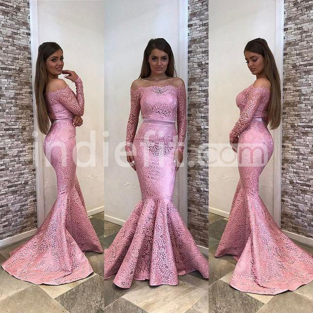 $159.99 Pink Long Bridesmaid Dresses / Prom Dresses 2018 Mermaid ...