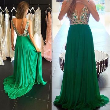 df268a34ed5  149.99 Long Junior Green A-line V-Neck Sleeveless Backless Beading Prom  Dresses 2019 Open Back Chiffon Sexy