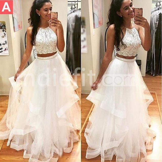 0dcb239b21e  154.99 Long Junior White A-line Halter Sleeveless Beading Prom Dresses 2019  Two Piece For Short Girls