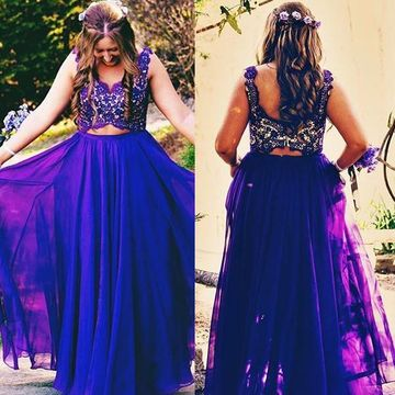 Long Plus Size Purple A-line Straps Sleeveless Zipper Prom Dresses 2019  Chiffon Lace Two Piece