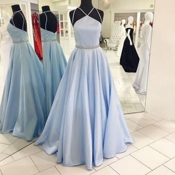 979fd2595feb  166.99 Long Elegant Blue A-line Halter Sleeveless Backless Crystal  Detailing Prom Dresses 2019 Open Back Sexy Ball Gown
