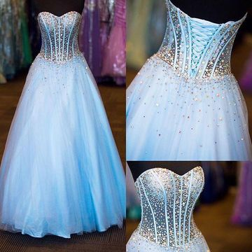 59e0d162526f $149.99 Long Elegant Blue Ball Gown Sweetheart Sleeveless Corset Beading  Prom Dresses 2019