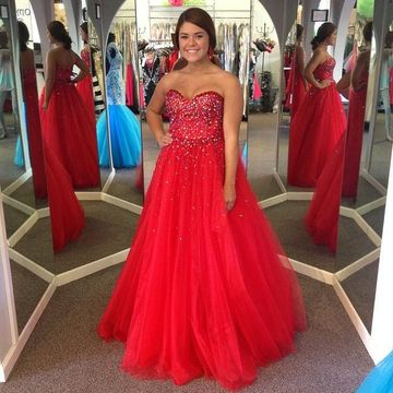 766dbb84d $159.99 Long Junior Red Ball Gown Sweetheart Sleeveless Beading Prom Dresses  2019 Sexy