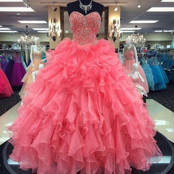 5ced636c6b5f6 $156.99 Long Cute Pink Ball Gown Sweetheart Sleeveless Beading Prom Dresses  2019