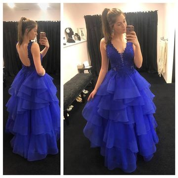 a21847a23201b $169.99 Long Royal Blue Ball Gown V-Neck Sleeveless Backless Appliques Prom  Dresses 2019 Open Back