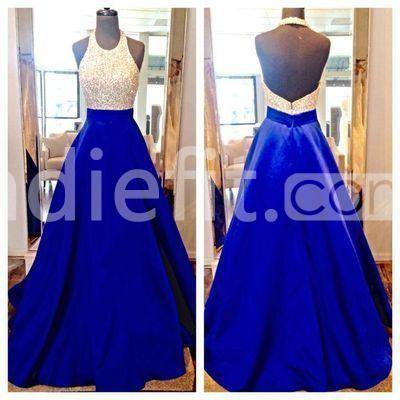 cdae38fee93e6e $152.99 Long Junior Blue A-line Halter Sleeveless Backless Beading Prom  Dresses 2019 Open Back Sexy For Short Girls