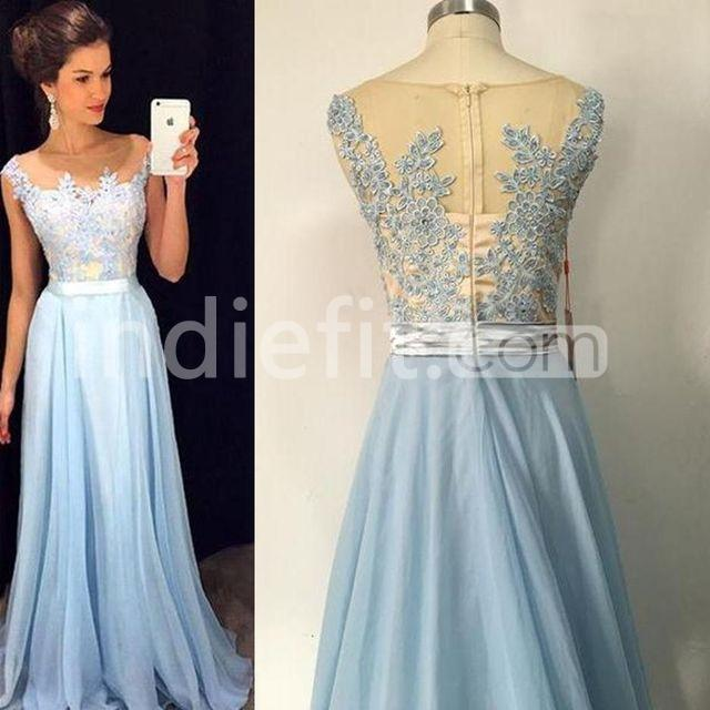 e27d65eca3  152.99 Long Sexy Blue A-line Sleeveless Zipper Appliques Prom ...