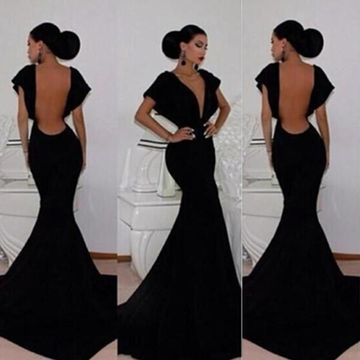 77827d1c00a  119.99 Long Sexy Black Mermaid V-Neck Short Sleeves Backless Prom Dresses  2019 Open Back
