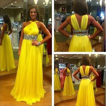 31dae4d37a3  145.99 Long Yellow A-line Halter Sleeveless Backless Beading Prom Dresses  2019 Open Back Chiffon