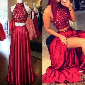 fa6e0a545429 $147.99 Long Sexy Red A-line High Neck Sleeveless Sequins Prom Dresses 2019  Two Piece