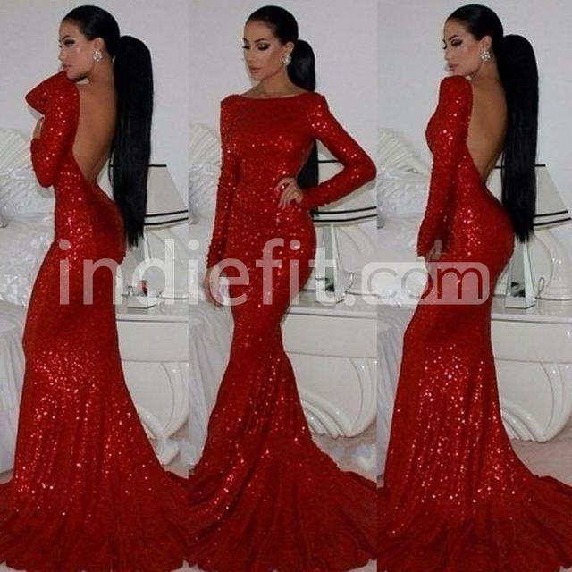 Long Sleeve Prom Dresses 2019: $146.99 Sexy Red Mermaid Long Sleeves Backless Sequins