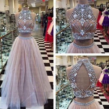585e8a1de $159.99 Long Sexy Beige/Champagne Ball Gown Halter Sleeveless Beading Prom  Dresses 2019