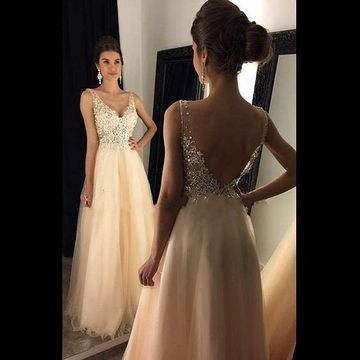 ab183196777  139.99 Long A-line V-Neck Sleeveless Backless Beading Prom Dresses 2019  Open Back