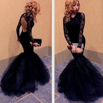 63f10862c1  156.99 Sexy Black Mermaid V-Neck Long Sleeves Backless Prom Dresses 2019  Open Back Lace