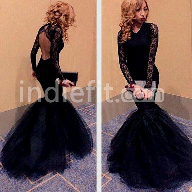 1be2959e6e8  156.99 Sexy Black Mermaid V-Neck Long Sleeves Backless Prom Dresses ...