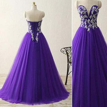 fdce3e54a043 $163.99 Long Purple Ball Gown Sweetheart Sleeveless Corset Appliques Prom  Dresses 2019