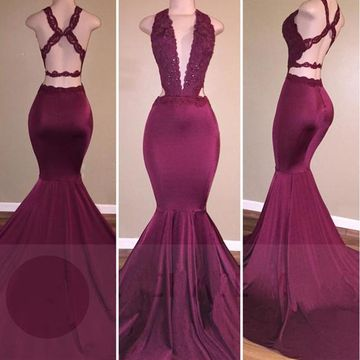 75ead524a06  136.99 Long Sexy Burgundy Mermaid V-Neck Sleeveless Backless Appliques Prom  Dresses 2019 Open Back