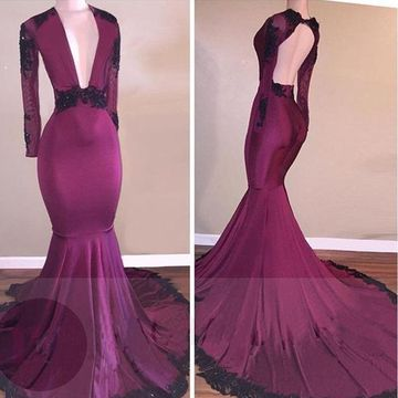 94333305477  139.99 Sexy Mermaid V-Neck Long Sleeves Backless Appliques Prom Dresses  2019 Open Back