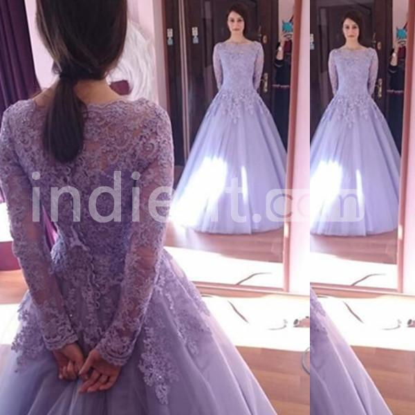 159 99 Modest Purple Ball Gown Long Sleeves Appliques
