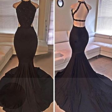76c0ef60fb0  148.99 Long Sexy Black Mermaid Halter Sleeveless Backless Beading Prom  Dresses 2019 Open Back