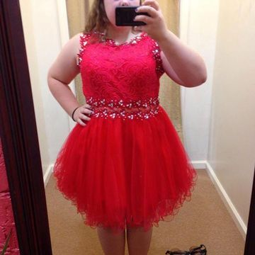 Plus Size Cute Red A-line Sleeveless Zipper Crystal Detailing Homecoming  Prom Dresses 2019 Lace