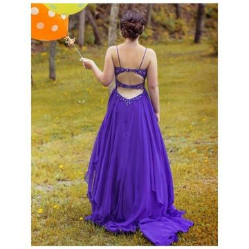 2f939ad56f1 1  2  3. Long Sexy Purple A-line Spaghetti Straps Sleeveless Zipper Beading  Prom ...