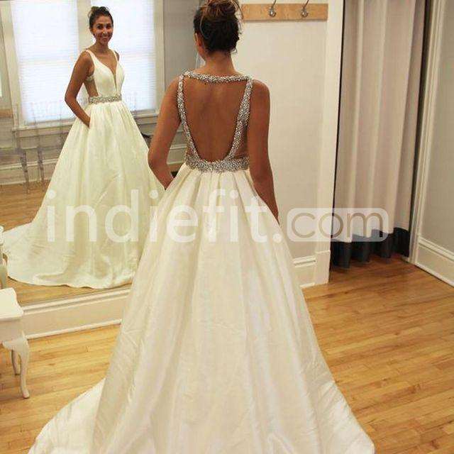 4208cf98f13b5e $139.99 Long Junior White Ball Gown V-Neck Sleeveless Backless ...