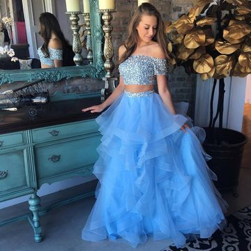 f4ad305ba41  159.99 Cheap Long Junior Blue A-line Short Sleeves Crystal Detailing Prom  Dresses 2019 Sexy For Short Girls Two Piece
