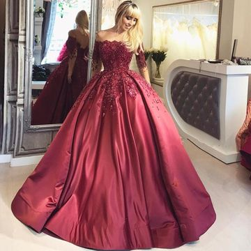 14990 Cheap Long Elegant Burgundy Ball Gown Sequins Prom Dresses