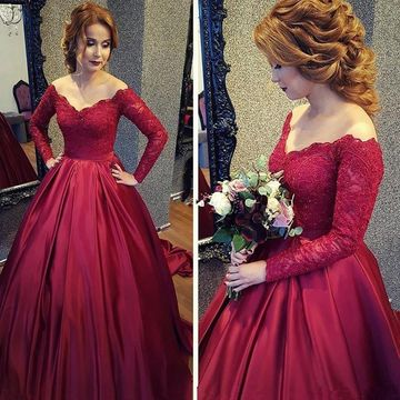 a6c91850c53  149.99 Red Long Prom Dresses 2019 Ball Gown Long Sleeves Lace